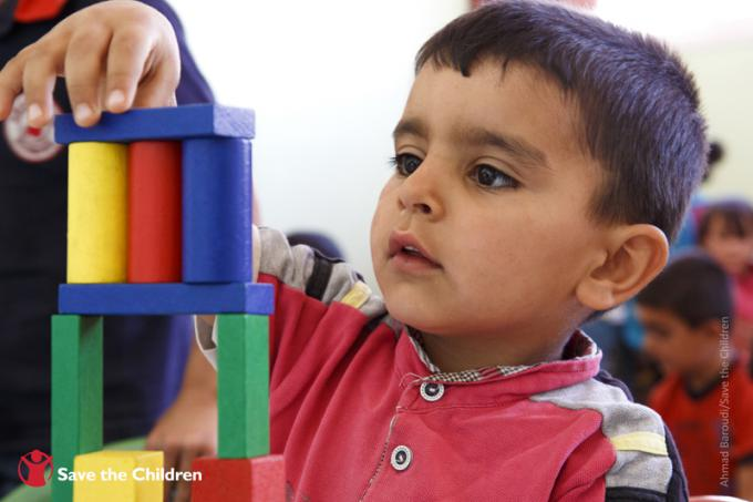 Majed 5 years old playing in one of the Save the Children's Child Friendly spaces in Syria.