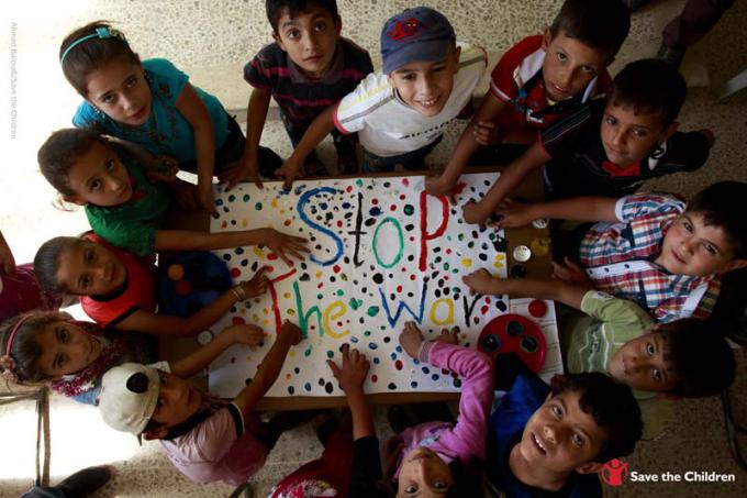 Children at a school supported by Save the Children in northern Syria use art to express their wishes for the future.