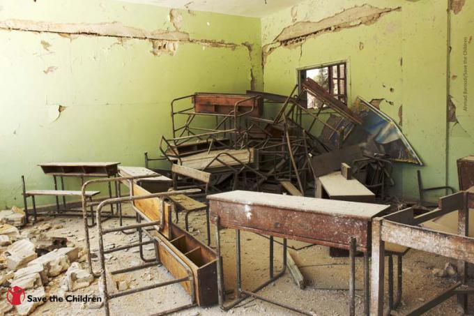 Inside a classroom at a school supported by Save the Children in northern Syria that had been severely damaged in an airstrike.